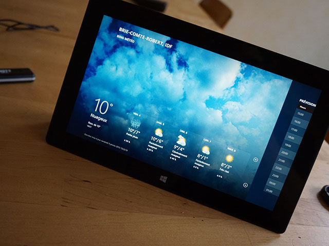 Microsoft Surface RT : l'application météo