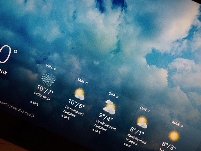 Microsoft Surface RT : une vue de l'application météo
