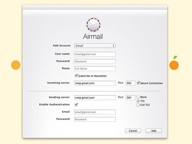 Airmail : la configuration de la boite