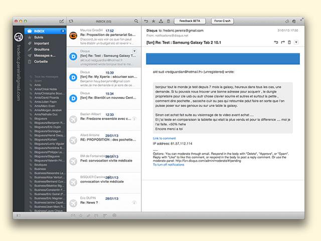 Airmail : l'interface de l'application