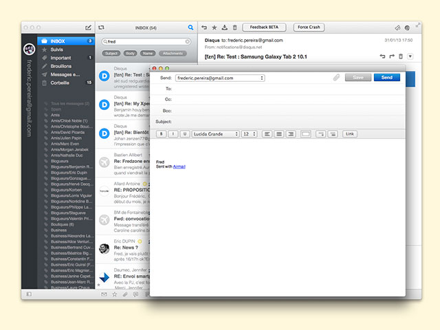 Airmail : la fenêtre de rédaction d'un nouveau message