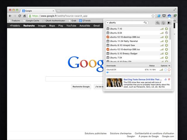 Bittorrent dans ton navigateur web avec Surf