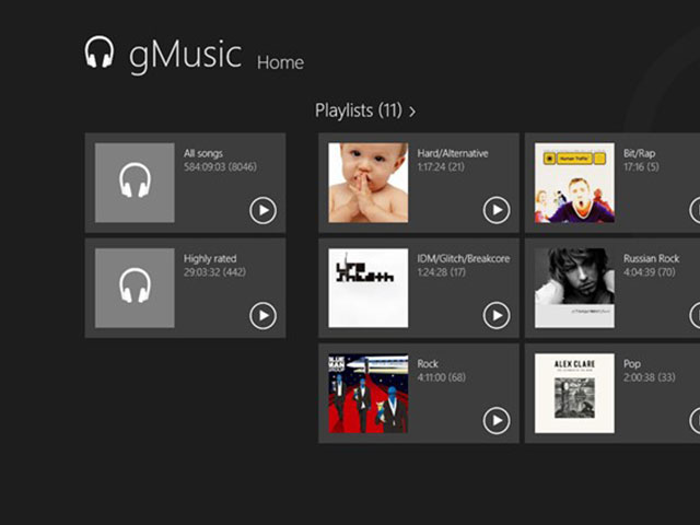 gMusic, Google Music sur Windows 8