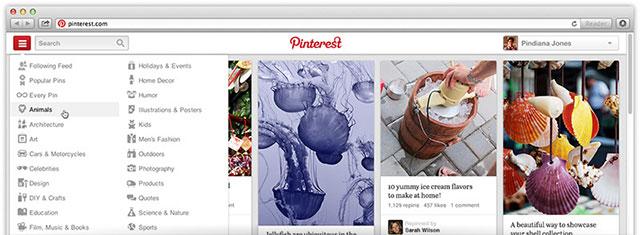 Pinterest : une autre vue du système de navigation