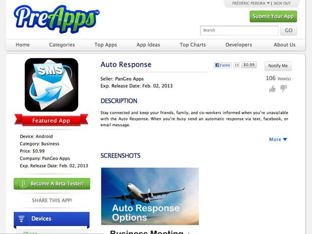 PreApps : la fiche d'une application