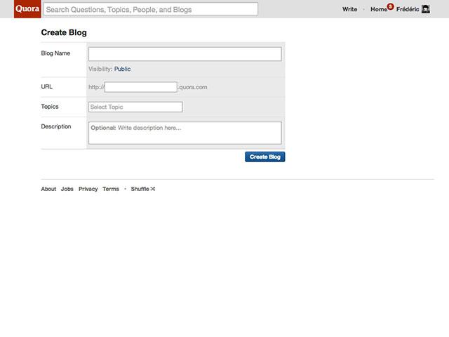 Quora Blogs : la première étape de création du blog