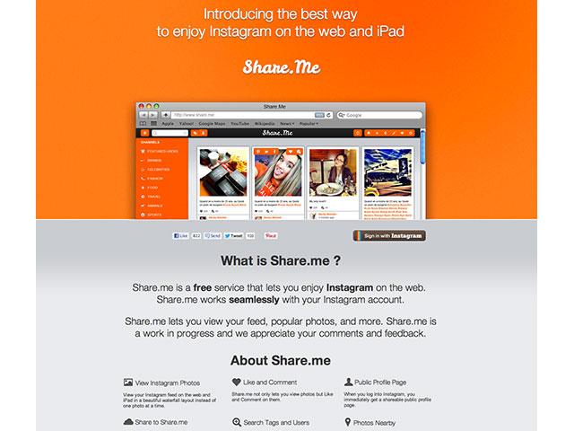Instagram sur le web et sur l'iPad avec Share.me