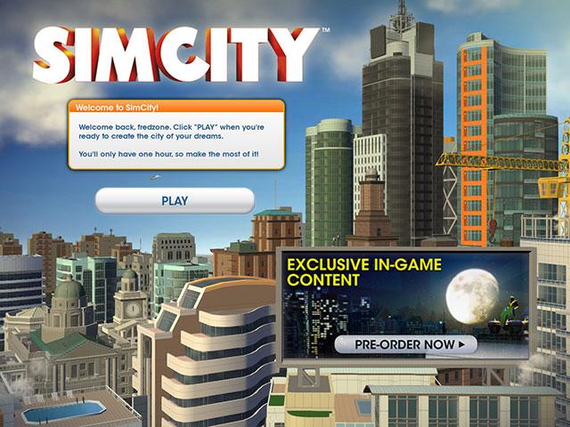 Sim City 2013 : l'écran d'accueil