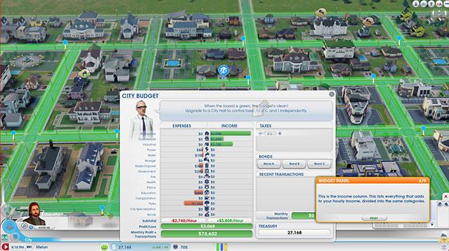 Sim City 2013 : la fenêtre du budget
