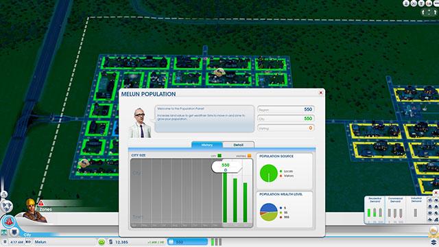 Sim City 2013 : la fenêtre de la population