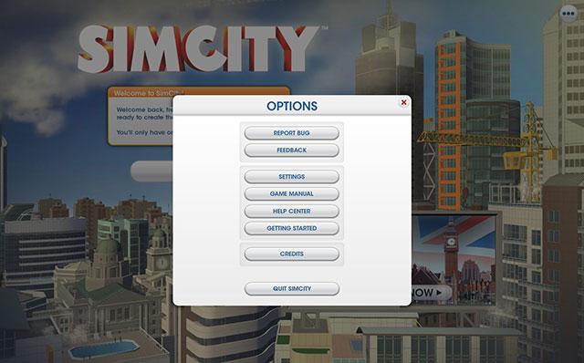 Sim City 2013 : les paramètres
