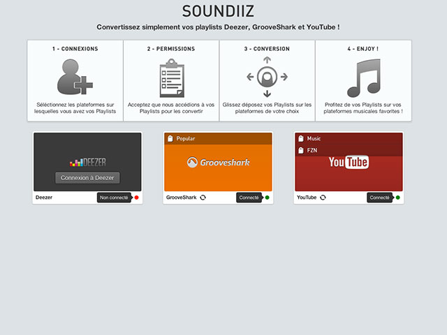 Soundiiz, pour convertir vos playlists Deezer / Grooveshark / YouTube