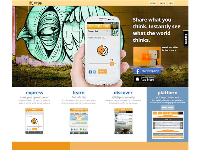 Swipp : la page d'accueil