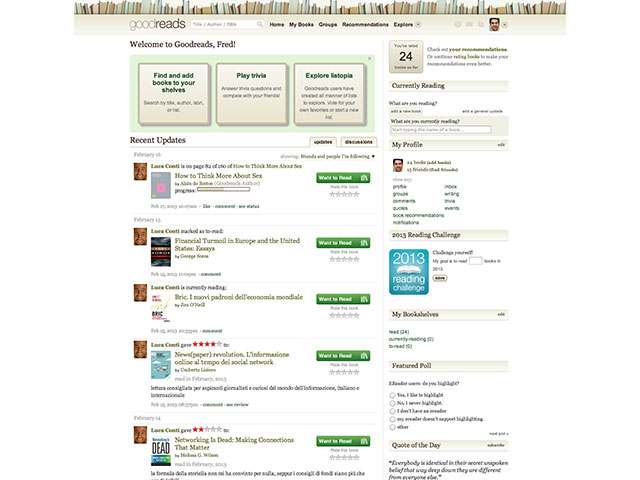 GoodReads : la page d'accueil