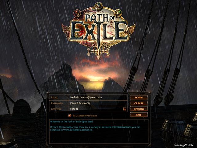 Path of Exile : l'écran d'accueil