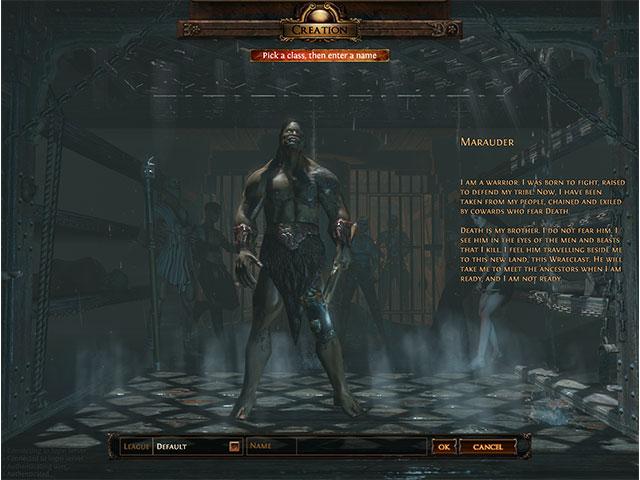 Path of Exile : la sélection du personnage