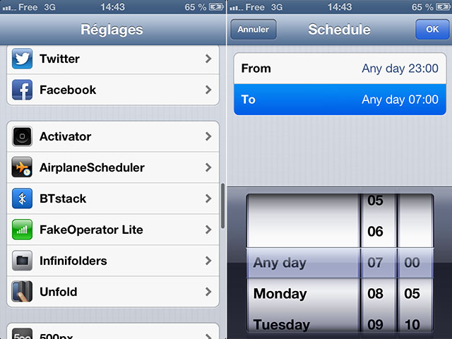 iOS : programmer l'activation du mode avion avec AirplaneScheduler