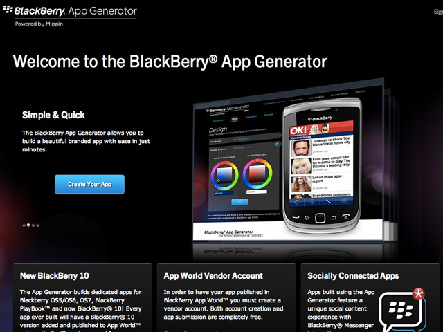 Créer une application mobile de son site pour BlackBerry 10