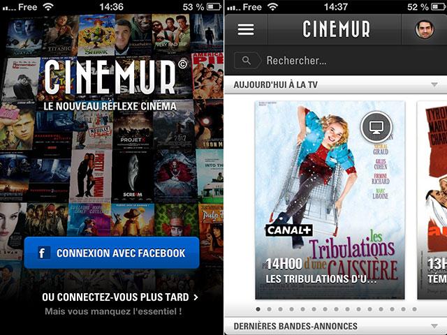 Cinemur : la page d'accueil