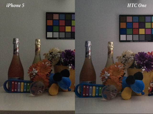 HTC One vs iPhone 5 : en basse luminosité