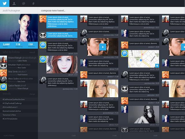 Concept Twitter : la page d'accueil