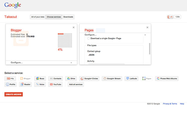 Google Takeout : ajout de Blogger et des pages Google+