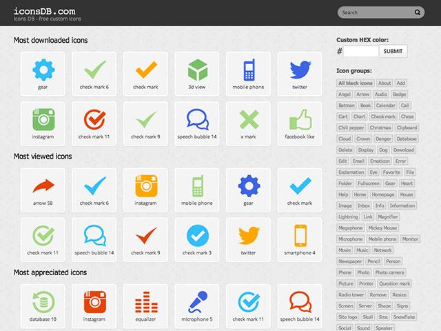 Iconsdb, des icônes aux couleurs aux couleurs de ton choix