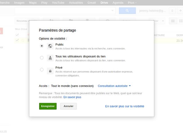 Partager des pages web sur Google Drive