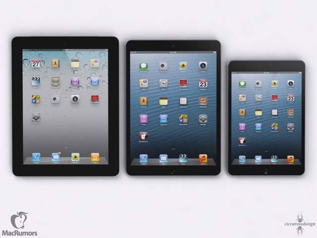L'iPad 5 aux côtés de l'iPad 4 et de l'iPad Mini