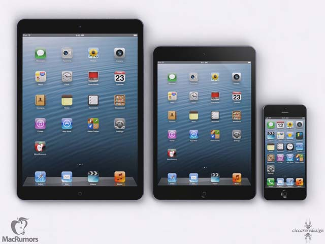 L'iPad 5 aux côtés de l'iPad Mini et de l'iPhone 5