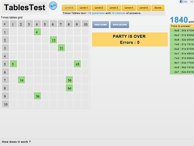 Réviser les tables de multiplication avec TablesTest