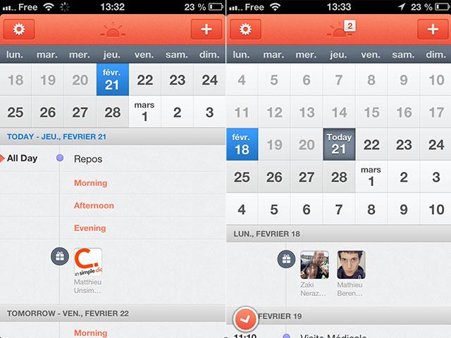 Sunrise Calendar : l'écran d'accueil