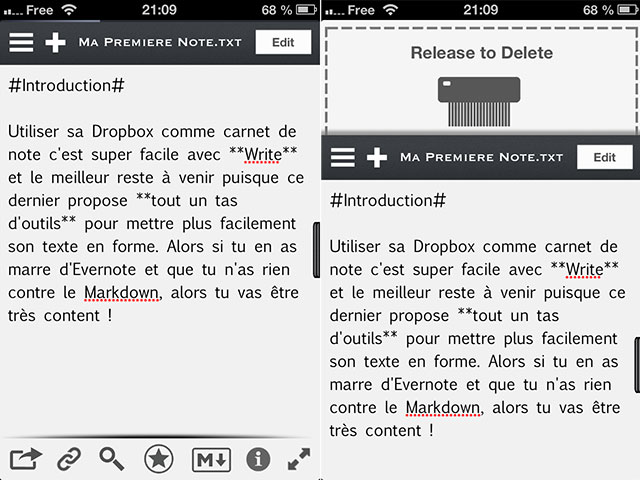 Write for Dropbox : l'éditeur
