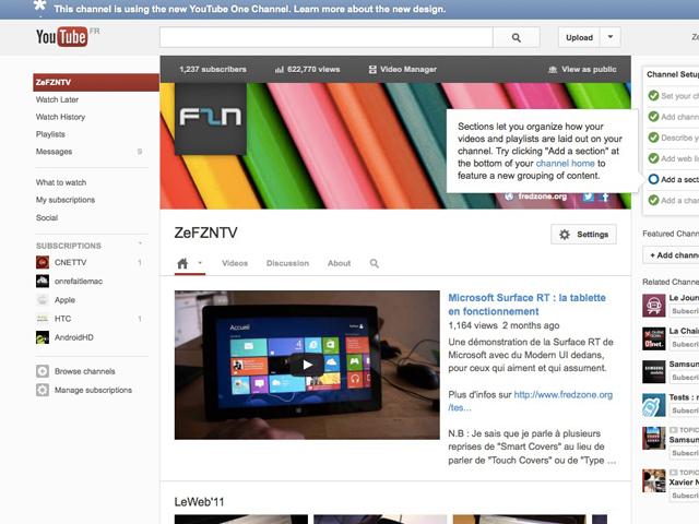 YouTube : la nouvelle interface des chaines pour tout le monde