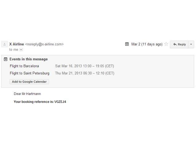 Ajouter un événement reçu dans Gmail dans Google Agenda