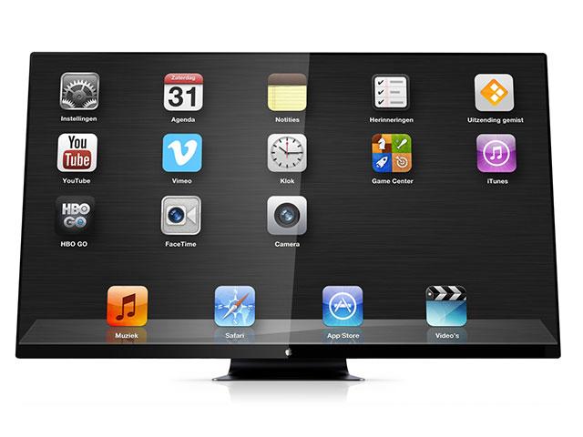 Concept iTV : de face, avec les icônes des applications
