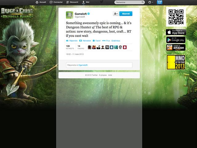 Dungeon Hunter 4 annoncé sur Twitter