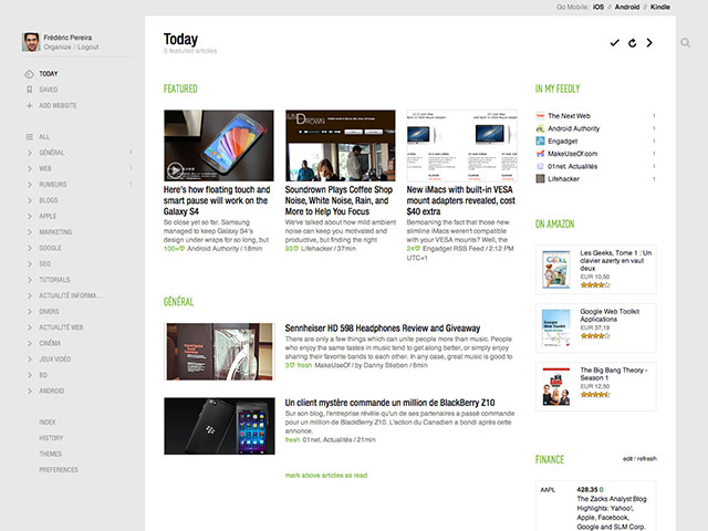 Feedly, une très bonne alternative à Reader