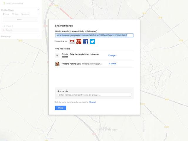 Google Maps Engine Lite : le partage