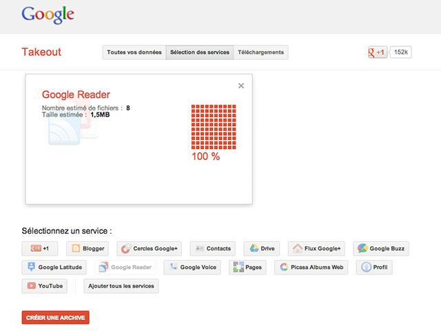 Récupérer ses données Google Reader