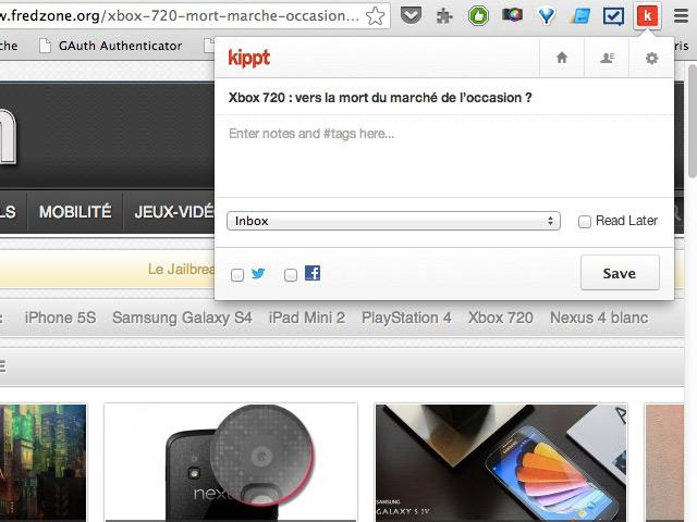 Kippt : l'extension pour Chrome