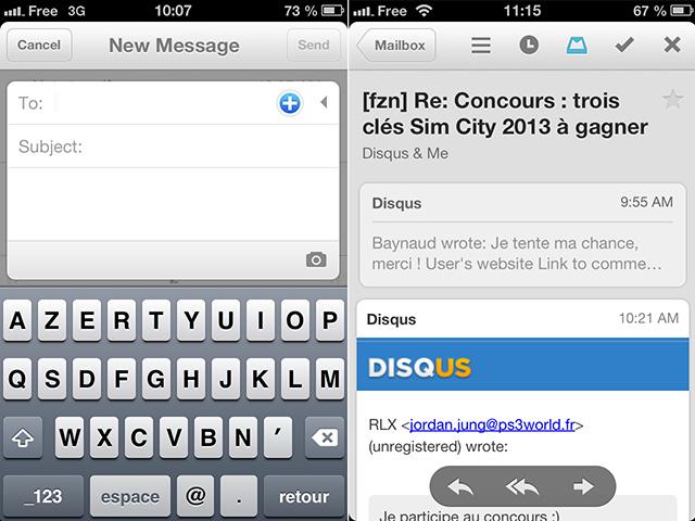 Mailbox : la rédaction et la lecture d'un message