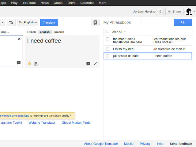 Le phrasebook de Google Traduction