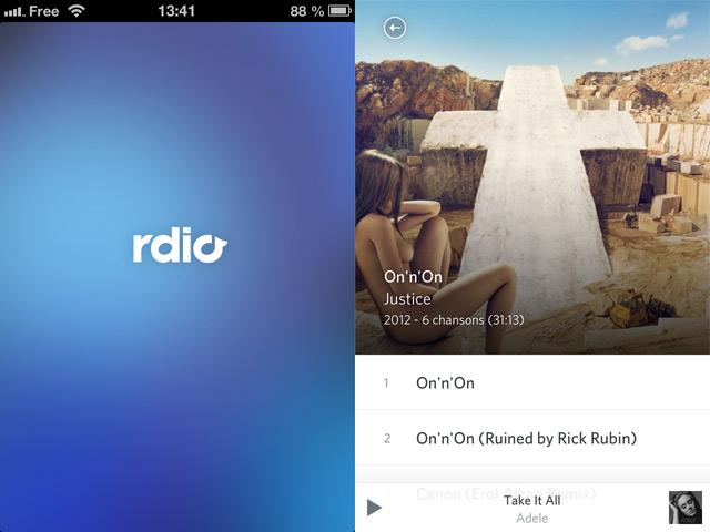 Rdio : une nouvelle version sur iOS