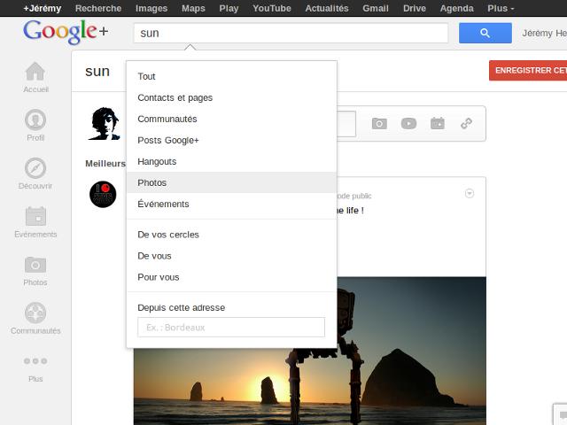 Rechercher des photos sur Google+