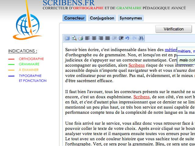 Scribens, un correcteur orthographique et grammatical en ligne