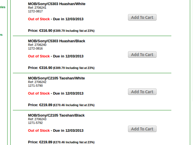Les Sony Xperia SP et L listés chez quelques revendeurs
