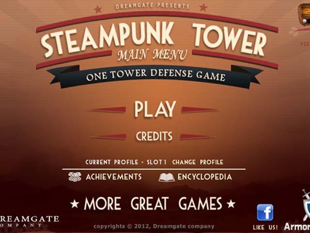 Steampunk Tower : l'écran d'accueil