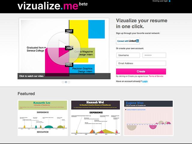 Vizualize.me : la page d'accueil