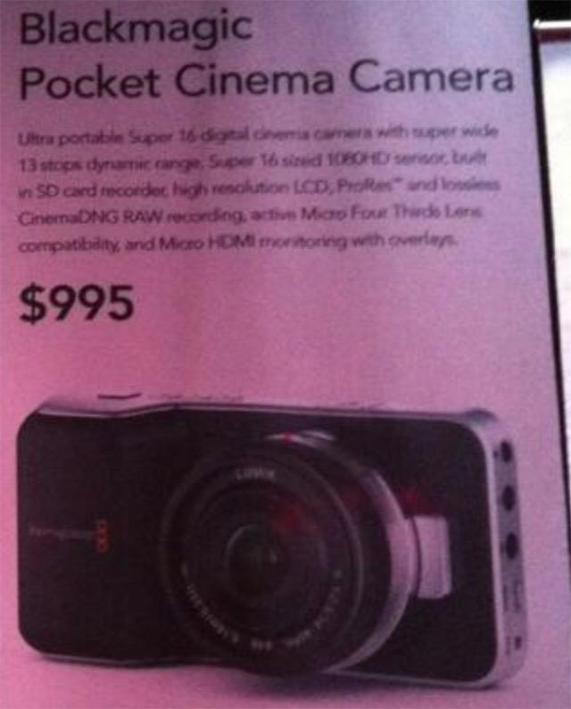 BlackMagic Pocket Cinema Camera : les caractéristiques